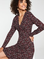 Very Twist Front Long Sleeve Dress - Ditsy Print