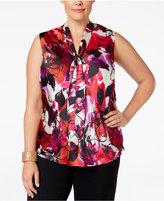 Kasper Plus Size Floral-Print Tie-Neck Blouse