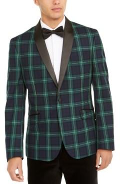 Billy London Men's Slim-Fit Stretch Green/Blue Plaid Dinner Jacket