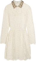 Valentino Star-collar Stretch-lace Mini Dress - Ivory
