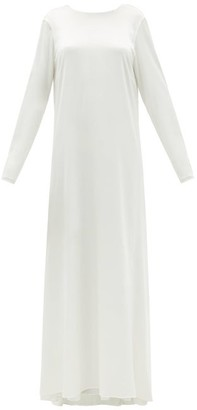 ALBUS LUMEN Draped-back Cotton-blend Satin Gown - White