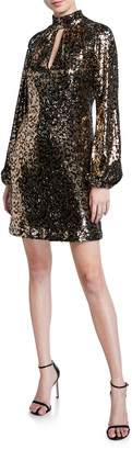 Milly Emily Leopard Sequin Mock-Neck Blouson-Sleeve Shift Dress