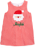 Red Gingham Santa Personalized Shift Dress - Infant & Toddler