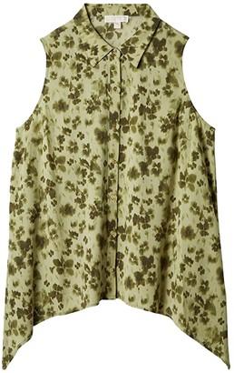 MICHAEL Michael Kors Size Poppy Ikat Hankhem Top (Light Sage) Women's Clothing