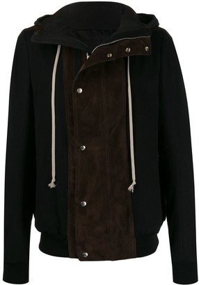 Rick Owens leather panel hooded jacket