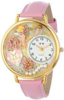 Whimsical Watches Valentine's Day Pink Leather and Goldtone Unisex Quartz Watch with White Dial Analogue Display and Multicolour Leather Strap G-1220024
