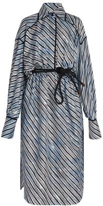 Fendi Sky Lines Silk Shirtdress