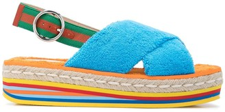 Gucci Cross-Strap Espadrille Platform Sandals