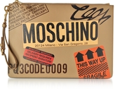 Moschino Beige Label Print Leather Clutch