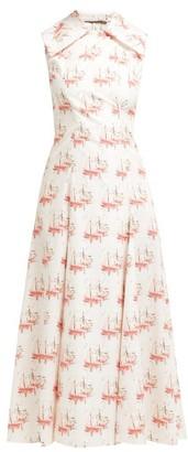 Emilia Wickstead Gaia Sailboat-print Poplin Dress - Womens - Pink Print