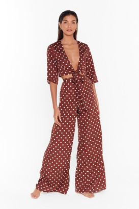 Nasty Gal Womens Don't Be Shady Polka Dot Wide-Leg Trousers - Brown - 6