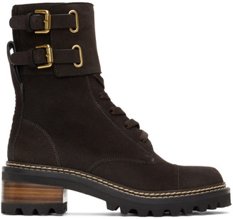 See by Chloe Black Suede Mallory Lace-Up Boots