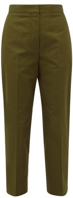 Jil Sander Cropped-cuff Cotton-poplin Trousers - Womens - Dark Green