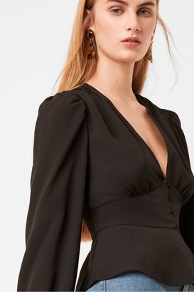 French Connection Blaine Crepe Puff Sleeve Blouse