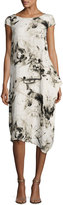 P. Luca Cap-Sleeve Print Midi Dress, Black/White