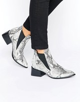 Sol Sana Rico Snake Printed Leather Heeled Ankle Boots