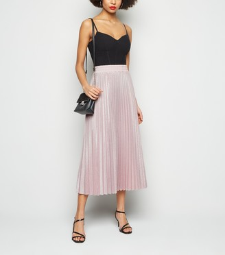 New Look Glitter Pleated Midi Skirt