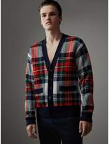 Burberry Tartan Knitted Cashmere Wool Cardigan, White
