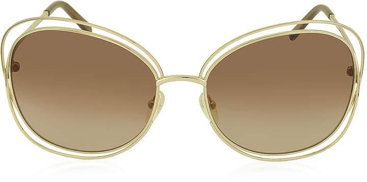 Chloé CARLINA CE 119S 786 Gold Metal Square Women's Sunglasses