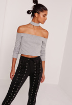 Missguided Choker Neck Sweat Top Grey