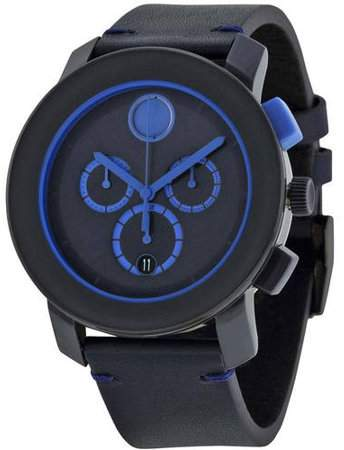 Movado Bold Leather Chronograph Men's Watch, 3600349