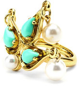 Oscar de la Renta Pearly Cabochon Drop Ring, Golden/Turquoise