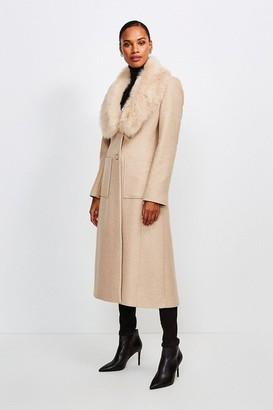 Karen Millen Long Pile Collar Coat