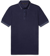 Loro Piana - Contrast-tipped Knitted Silk And Linen-blend Polo Shirt