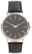 George Stainless Steel Case Faux Leather Strap Watch