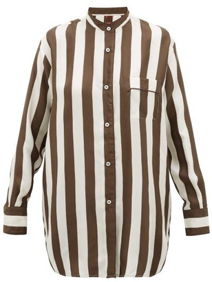 F.R.S For Restless Sleepers Febo Striped Silk-twill Shirt - Brown Multi
