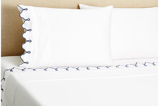 Belle Epoque Embroidered Scalloped Sheet Set - Navy Twin