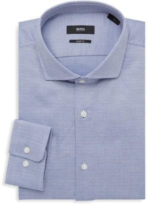 HUGO BOSS Mark Sharp-Fit Dotted Dress Shirt