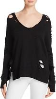 Pam & Gela V-Neck Side-Slit Distressed Sweatshirt