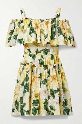 Dolce & Gabbana - Cold-shoulder Ruffled Floral-print Cotton-poplin Mini Dress - Yellow