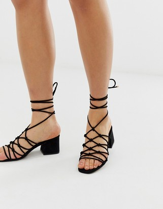 Asos Design DESIGN Harvie knotted detail block heeled sandals in black