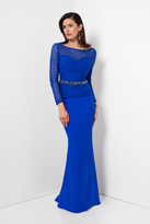 Terani Couture Longsleeve V-Back with Belt Evening Dress 1622M1808