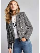 River Island Womens Black pearl double breasted boucle jacket