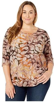 Karen Kane Plus Plus Size Tie-Dye Burnout Shirttail Tee (Tie-Dye) Women's Blouse