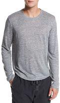 Vince Raw-Edge Long-Sleeve Crewneck T-Shirt