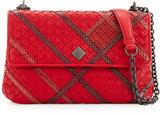 Bottega Veneta Olimpia Intrecciato Snakeskin & Leather Shoulder Bag, Red