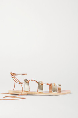 Ancient Greek Sandals Alcyone Lace-up Metallic Leather Sandals - Gold