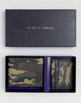 Smith And Canova Camo Leather Wallet and Card Holder Gift Set in Camo Print