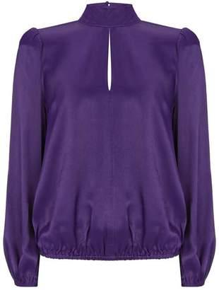 Mint Velvet Purple Satin Puff Sleeve Top