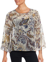 Style And Co. Petite Sheer Paisley Blouse with Crochet Trim