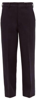 Raey Flood-crop Wool Harris-tweed Tailored Trousers - Womens - Navy