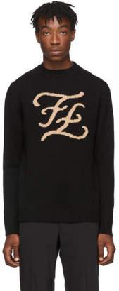Fendi Black Karligraphy Crewneck Sweater