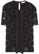 Fendi Embroidered Tulle And Silk Blouse