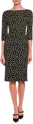 Dolce & Gabbana 3/4-Sleeve Polka-Dotted Dress