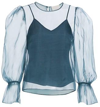 Cinq à Sept Mae Long Puff-Sleeve Tulle Silk Blouse