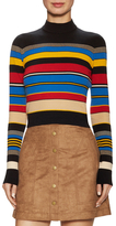Tracy Reese Cotton Striped Mock Neck Sweater